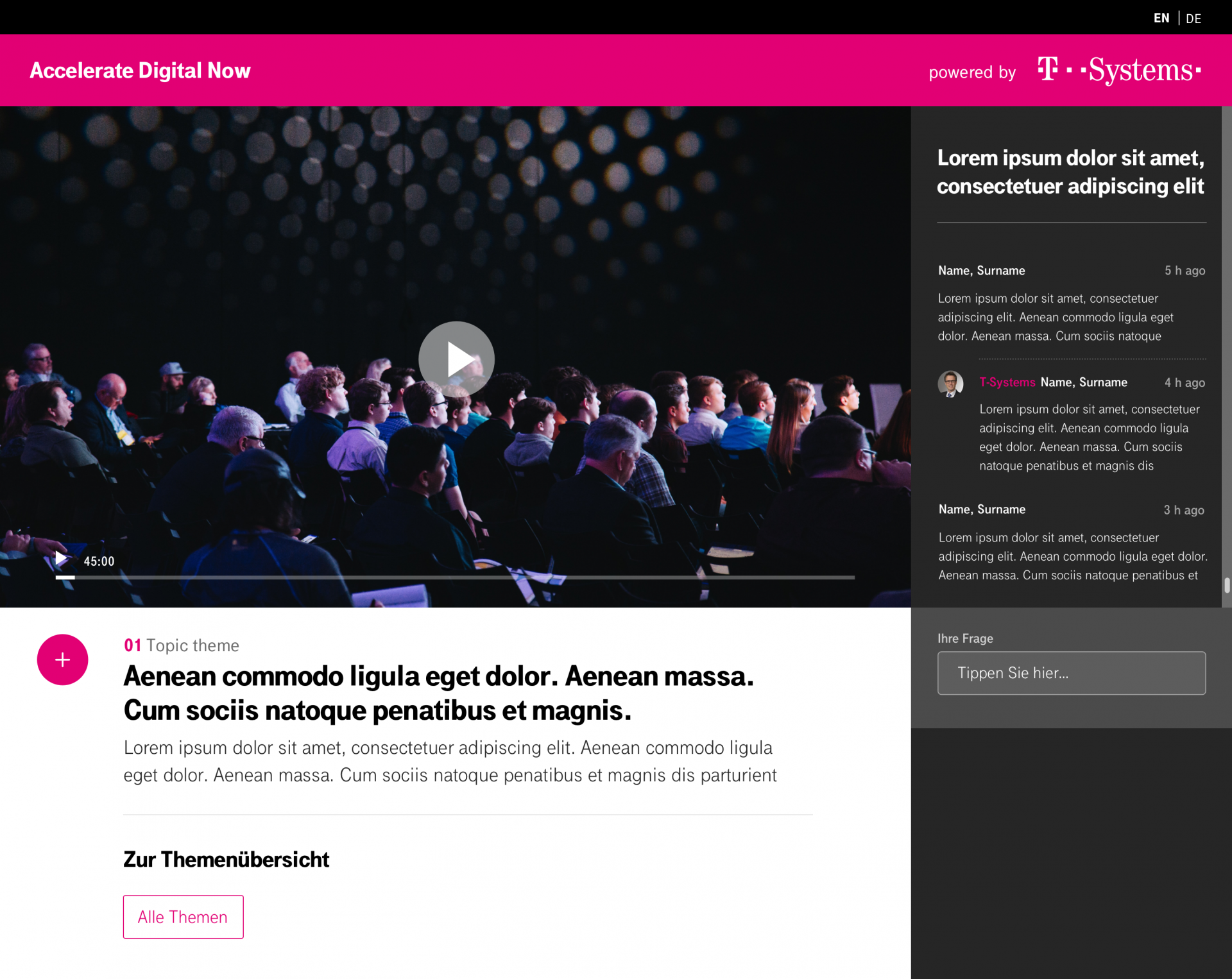 T-Systems Accelerate Now digitales event interface design
