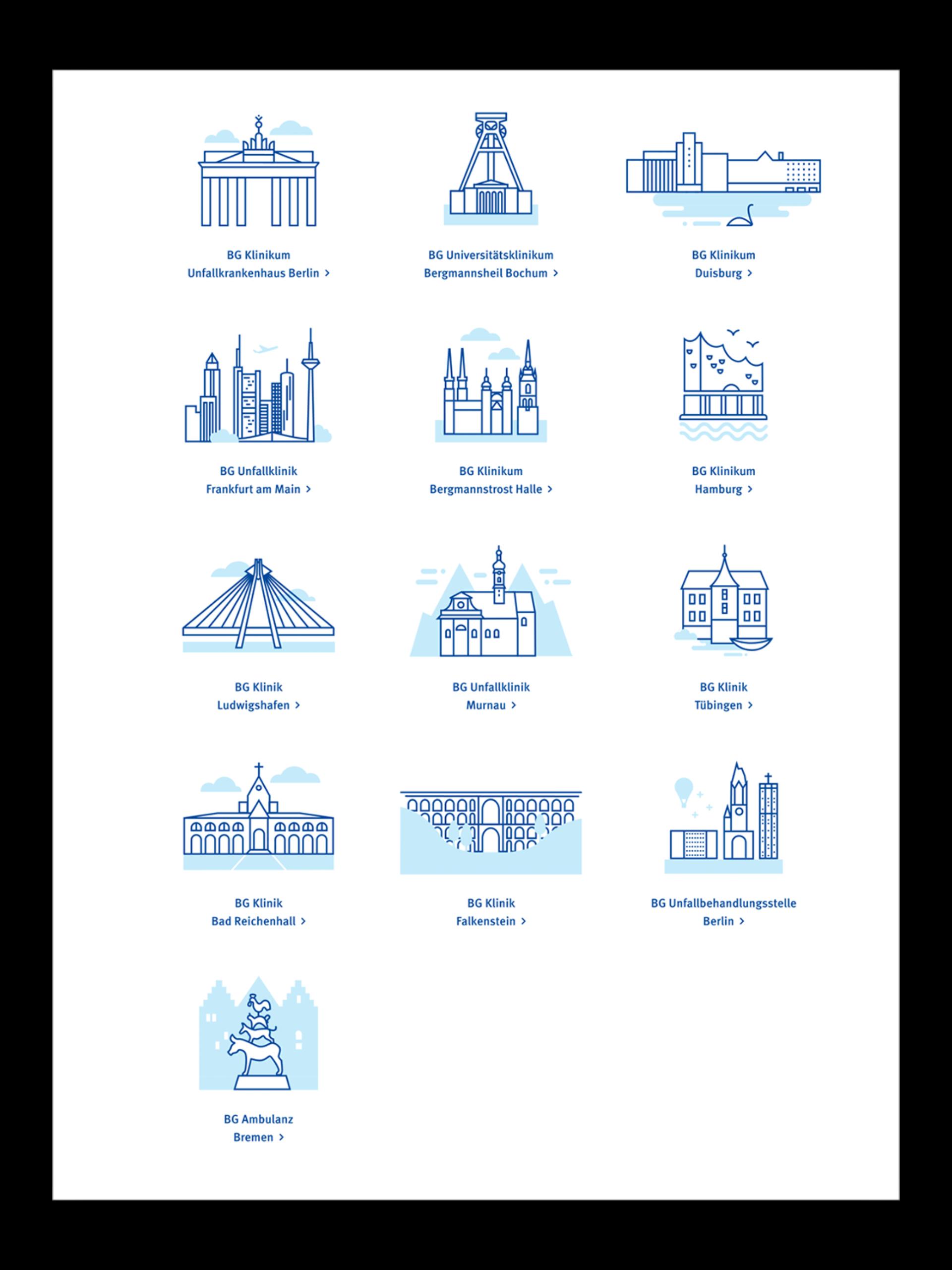 Illustrationen der einzelnen BG Klinik Standorten.