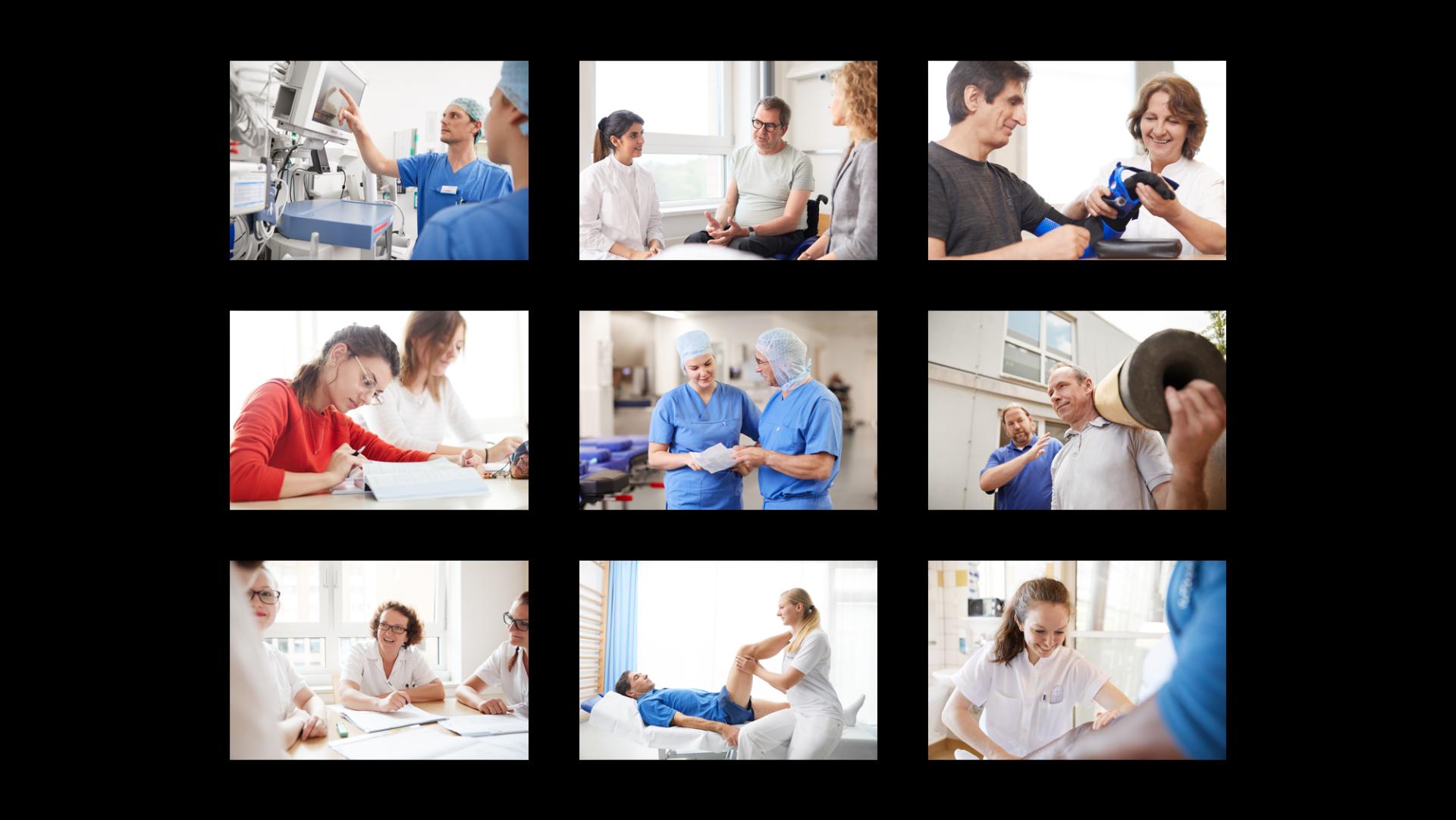 Darstellung des Klinikalltags als Fotoshooting.