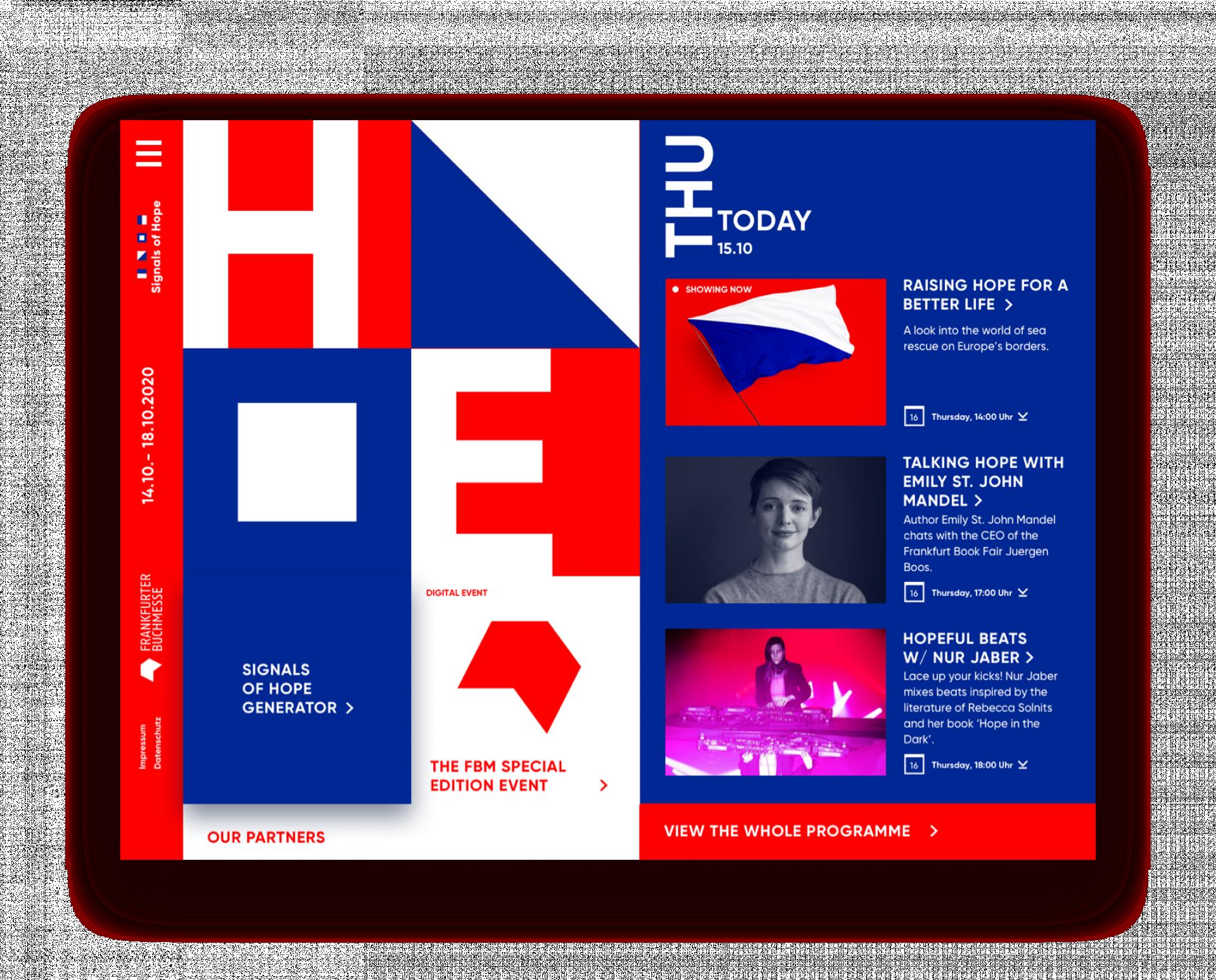 """Webseite """"Signals of Hope"""" der Frankfurter Buchmesse"""